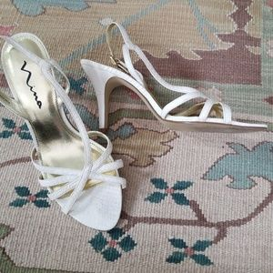Nina strappy leather dress heels